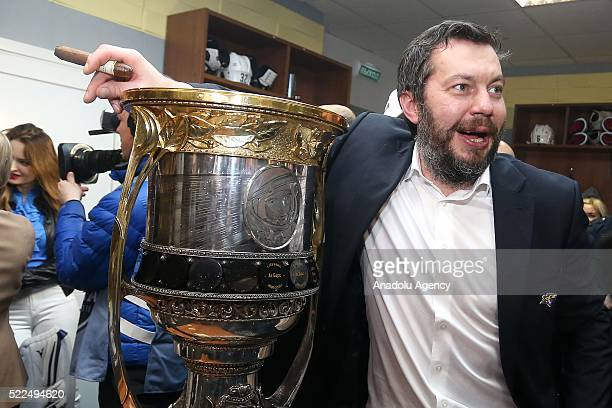 Ilya Vorobyev head coach of Metallurg after a match between PHC CSKA HC Metallurg Metallurg celebrate winning the playoff finals Kontinental Hockey...