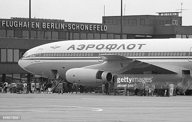 Ilyushin Il86 Widebody airliner by the Soviet airline Aeroflot at Schoenefeld airport East Berlin