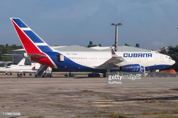 Ilyushin Il96300 with registration CUT1251 a Russian made quad jet long haul wide body aircraft of Cubana de Aviación airline at José Martí...