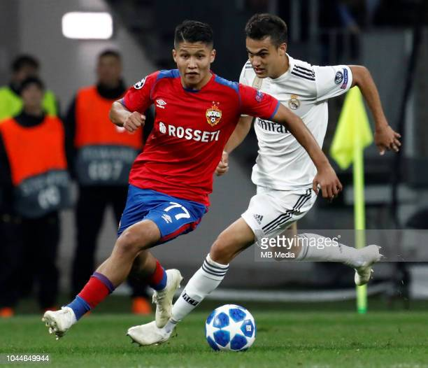 Ilzat Akhmetov of CSKA Moscow and Sergio Reguilon of Real Madrid vie for the ball during the Group G match of the UEFA Champions League between CSKA...