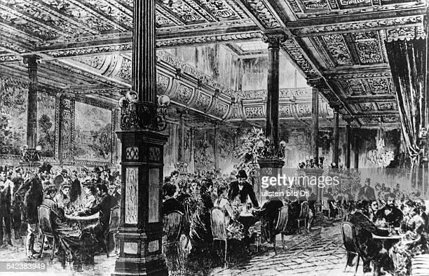 Im Cafe Bauer Unter den Lindenum 1890zeitg Illustration