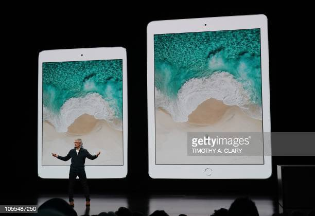 Im Cook, CEO of Apple unveils new Ipads during a special event at the Brooklyn Academy of Music, Howard Gilman Opera House October 30 in New York.