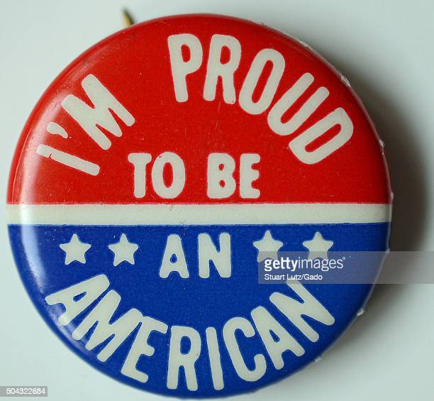 Im Proud to be An American patriotic red white and blue pin expressing support for America during the Vietnam War 1965