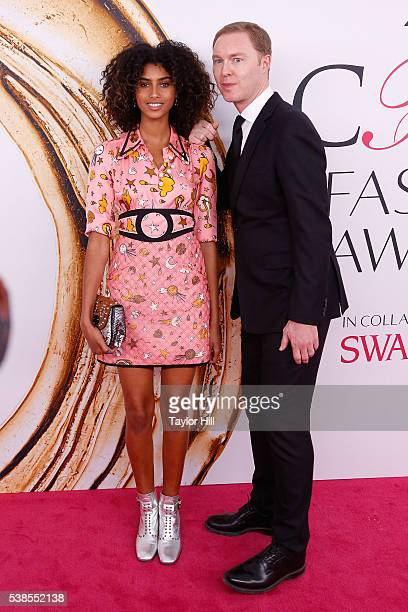 Imaan Hammam and Stuart Vevers attend the 2016 CFDA Fashion Awards at the Hammerstein Ballroom on June 6 2016 in New York City