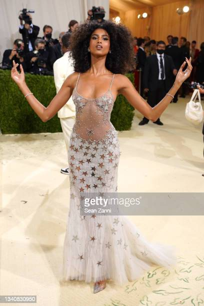 Imaan Hammam attends 2021 Costume Institute Benefit - In America: A Lexicon of Fashion at the Metropolitan Museum of Art on September 13, 2021 in New...