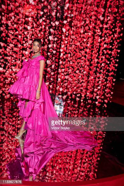 Imaan Hammam attends the Love Ball in aid of the Naked Heart Foundation and Al Shafallah at Museum of Islamic Art on March 29 2019 in Doha Qatar