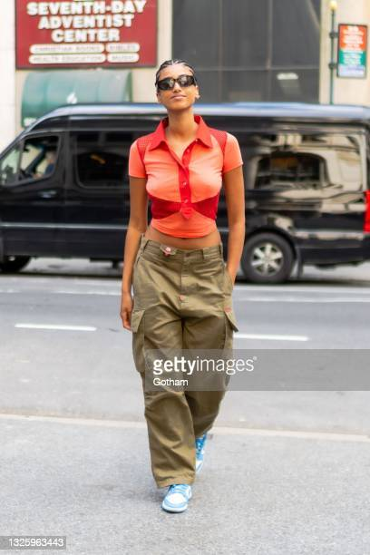 Imaan Hammam is seen arriving for the Marc Jacobs Fashion Show at the New York Public Library on June 28, 2021 in New York City.