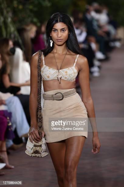 Imaan Hammam walks the runway at the Alberta Ferretti fashion show during the Milan Women's Fashion Week on September 23, 2020 in Milan, Italy.