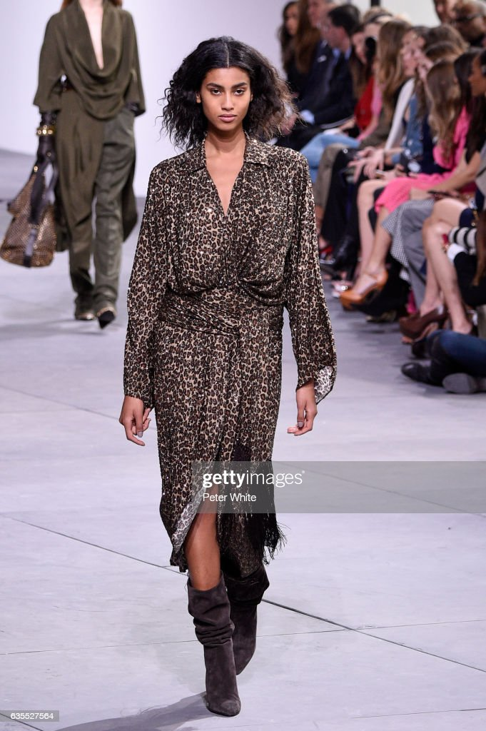 Imaan Hammam walks the runway at the Michael Kors Collection Fall 2017 show at Spring Studios on at Spring Studios on February 15, 2017 in New York City.