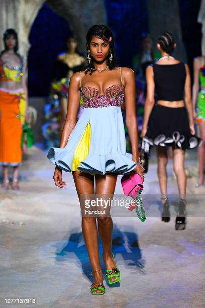 Imaan Hammam walks the runway at the Versace fashion show during the Milan Women's Fashion Week on September 25, 2020 in Milan, Italy.