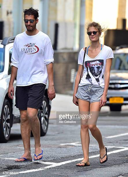 Imad Izemrane and Constance Jablonski are seen in Soho on July 1 2015 in New York City
