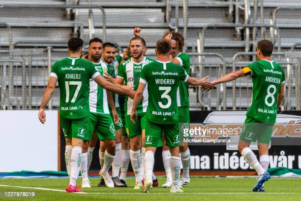 Imad Khalili of Hammarby IF celebrates scoring the 2-0 goal during the Allsvenskan match between Djurgardens IF and Hammarby IF at Tele2 Arena on...