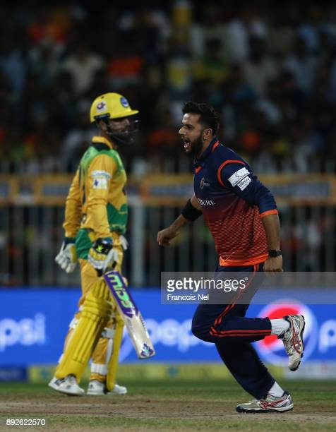 Imad Wasim of Maratha Arabians celebrates the wicket of Ahmed Shehzad of Pakhtoons during the T10 League match between Maratha Arabians and Pakhtoons...