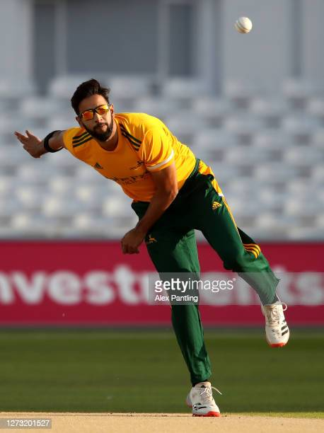 Imad Wasim of Notts bowls during the T20 Vitality Blast match between Notts Outlaws and Derbyshire Foxes at Trent Bridge on September 17, 2020 in...