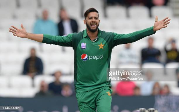 Imad Wasim of Pakistan appeals and dismisses Moeen Ali during the fifth oneday international between England and Pakistan at Headingley on May 19...