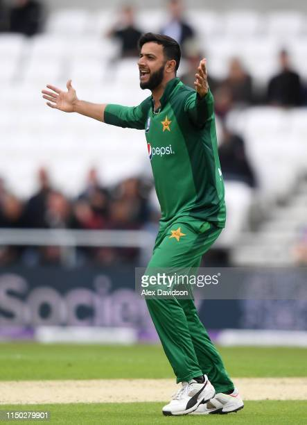 Imad Wasim of Pakistan appeals for the wicket of Moeen Ali of England during the 5th One Day International between England and Pakistan at Headingley...