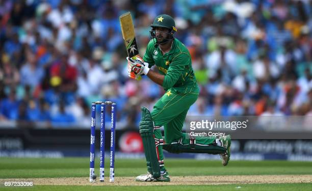 Imad Wasim of Pakistan bats during the ICC Champions Trophy Final between India and Pakistan at The Kia Oval on June 18 2017 in London England