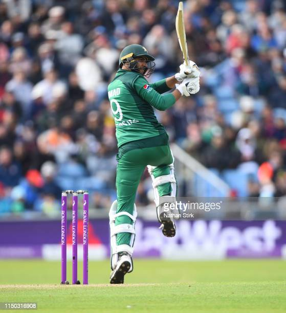 Imad Wasim of Pakistan batting during the 5th Royal London ODI match between England and Pakistan at Headingley on May 19 2019 in Leeds England