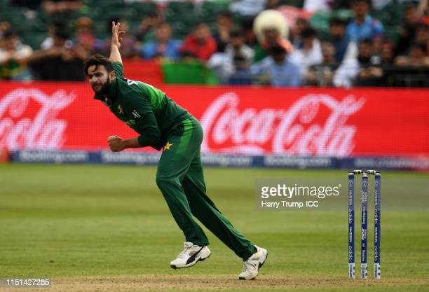 Imad Wasim of Pakistan bowls during the ICC Cricket World Cup 2019 Warm Up match between Pakistan and Afghanistan at Bristol County Ground on May 24...