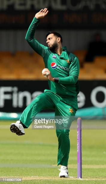 Imad Wasim of Pakistan bowls during the tour match between Northamptonshire and Pakistan at The County Ground on April 29 2019 in Northampton England