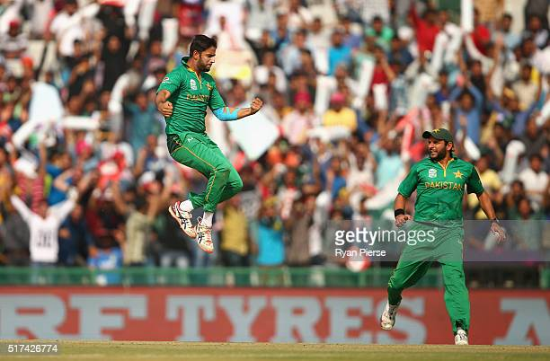 Imad Wasim of Pakistan celebrates after taking the wicket of Aaron Finch of Australia during the ICC WT20 India Group 2 match between Pakistan and...