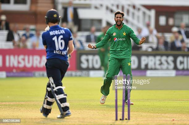 Imad Wasim of Pakistan celebrates dismissing England captain Eoin Morgan during the 2nd One Day International match between England and Pakistan on...