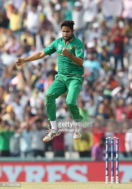 Imad Wasim of Pakistan celebrates the wicket of Aaron Finch of Australia during the ICC World Twenty20 India 2016 Super 10s Group 2 match between...