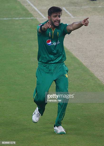 Imad Wasim of Pakistan celebrates the wicket of Evin Lewis of West Indies during the first T20 International match between Pakistan and West Indies...