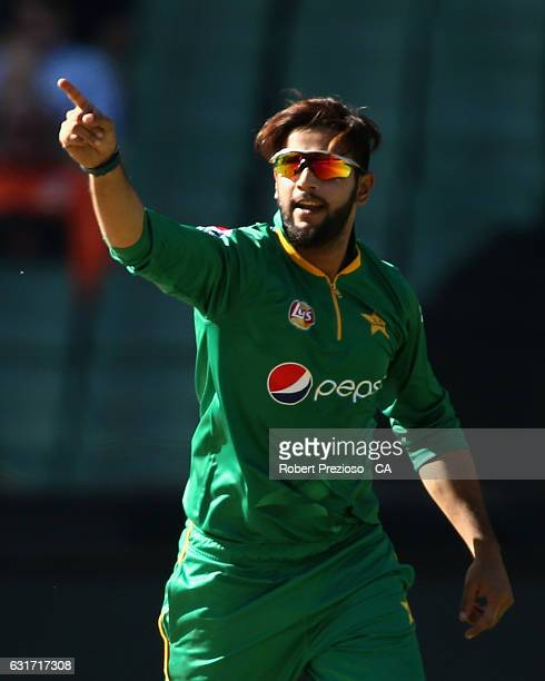 Imad Wasim of Pakistan celebrates the wicket of Steven Smith of Australia during game two of the One Day International series between Australia and...