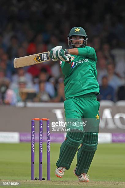 Imad Wasim of Pakistan finally releases the shackles and hits a boundary during the 2nd One Day International at Lord's Cricket Ground on August 27...