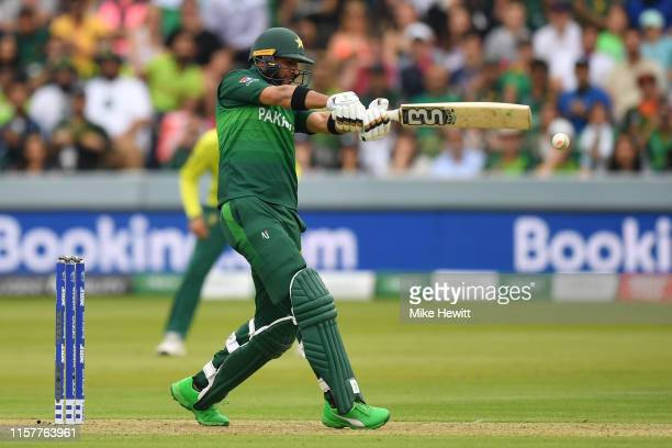 Imad Wasim of Pakistan hits out during the Group Stage match of the ICC Cricket World Cup 2019 between Pakistan and South Africa at Lords on June 23...