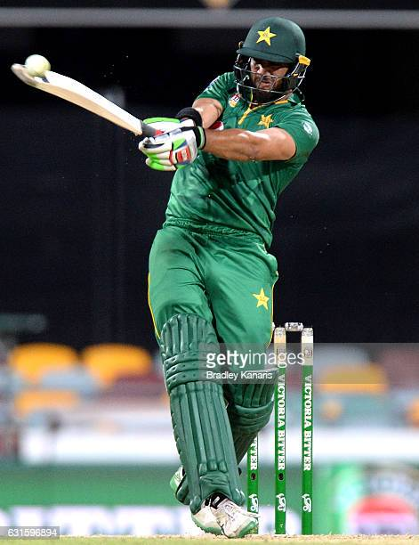 Imad Wasim of Pakistan hits the ball to the boundary for a four during game one of the One Day International series between Australia and Pakistan at...