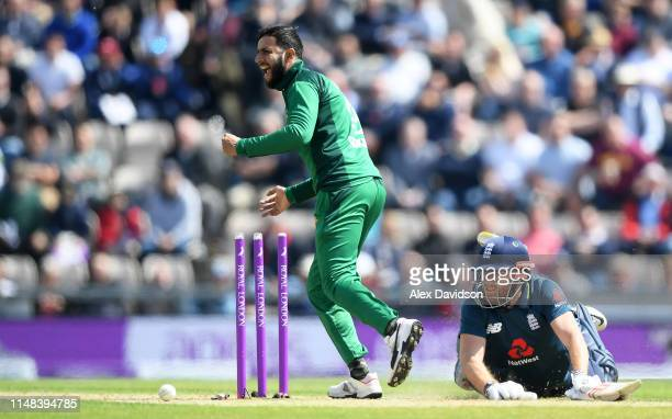 Imad Wasim of Pakistan hits the stumps while attempting to run out Jonny Bairstow of England during the second One Day International between England...