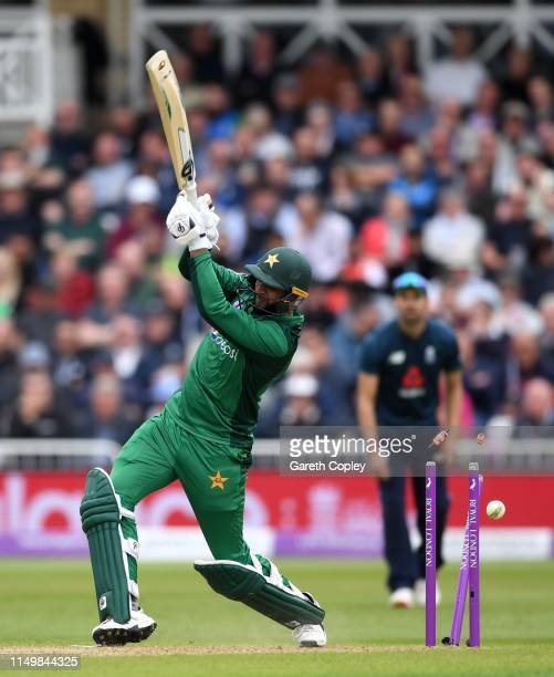 Imad Wasim of Pakistan is bowled by Tom Curran of England during the 4th One Day International between England and Pakistan at Trent Bridge on May 17...