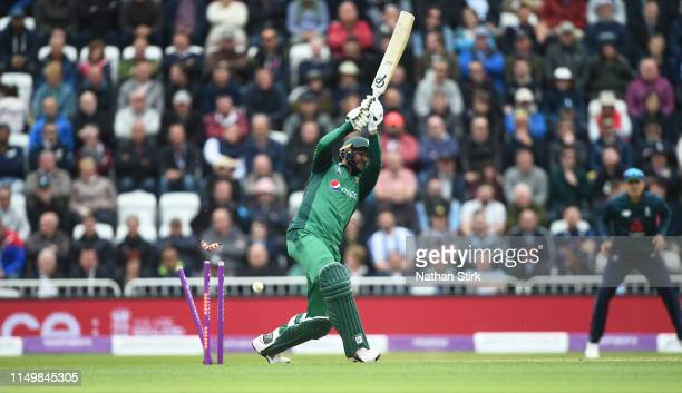 Imad Wasim of Pakistan is bowled by Tom Curran of England during the 4th Royal London ODI match between England and Pakistan at Trent Bridge on May...
