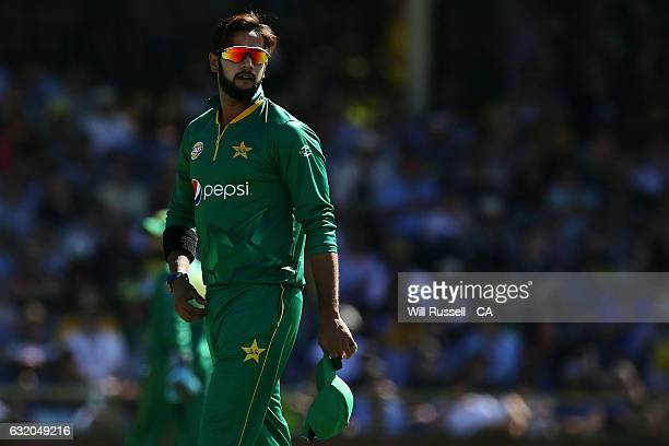 Imad Wasim of Pakistan looks on during game three of the One Day International series between Australia and Pakistan at WACA on January 19 2017 in...
