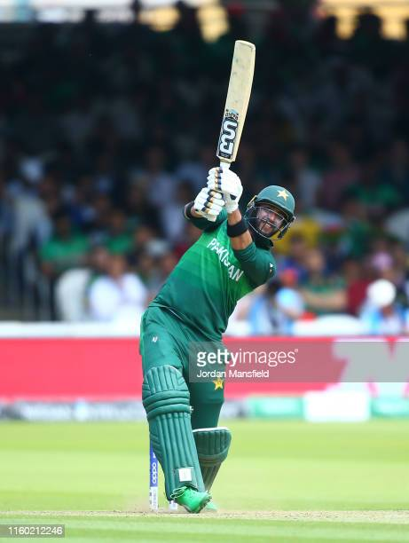 Imad Wasim of Pakistan plays a shot during the Group Stage match of the ICC Cricket World Cup 2019 between Pakistan and Bangladesh at Lords on July...