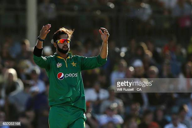 Imad Wasim of Pakistan reacts after a close ball during game three of the One Day International series between Australia and Pakistan at WACA on...