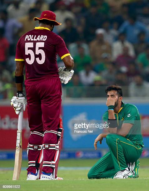 Imad Wasim of Pakistan reacts during the first T20 International match between Pakistan and West Indies at Dubai International Cricket Ground on...