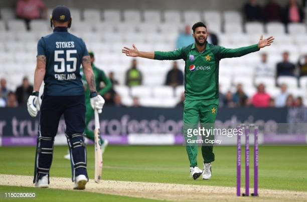 Imad Wasim of Pakistan successfully appeals for the wicket of Moeen Ali of England during the 5th One Day International between England and Pakistan...