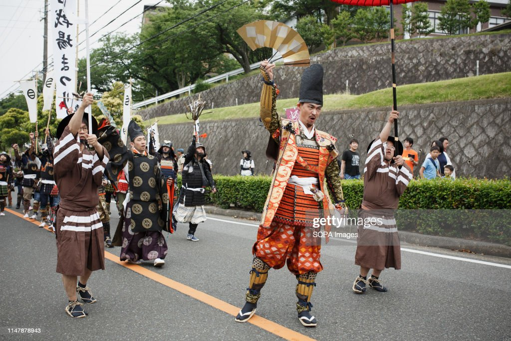 Imagawa Yoshimoto wearing samurai warrior armour performs... : News Photo