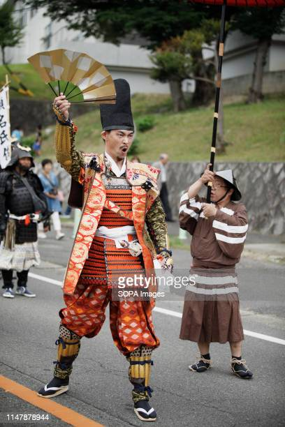 Imagawa Yoshimoto wearing samurai warrior armour performs during the Okehazama Historical Battlefield Festival in Aichi toyoake In 1560 Oda Nobunaga...