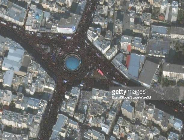 PROCESSION TEHRAN IRAN JANUARY 6 2020 Image 4 Maxar satellite imagery of Tehran Iran revealing huge crowds of people that gathered for a funeral...