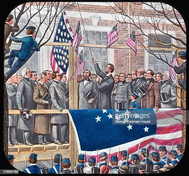 Image by Joseph Boggs Beale shows American President Abraham Lincoln as he raises the 34star 'Union Flag' or 'Lincoln Flag' over Independence Hall...