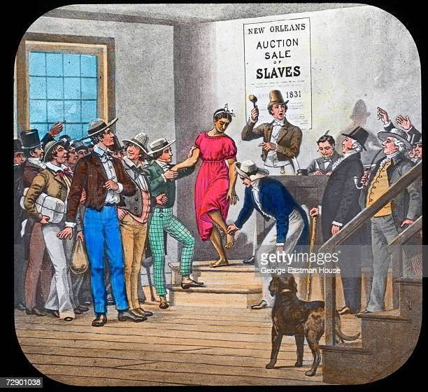 Image by Joseph Boggs Beale shows American President Abraham Lincoln as he watches a slave auction New Orleans Louisiana 1831 The image was published...
