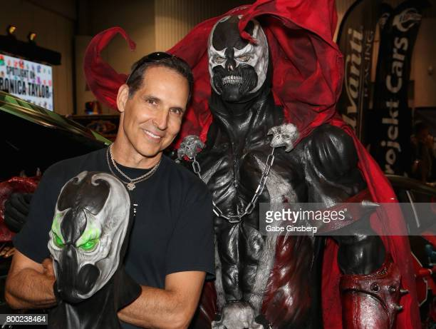 Image Comics Cofounder Todd McFarlane and Tom Proprofsky dressed as the character Spawn from the Spawn comic book series attend the Amazing Las Vegas...