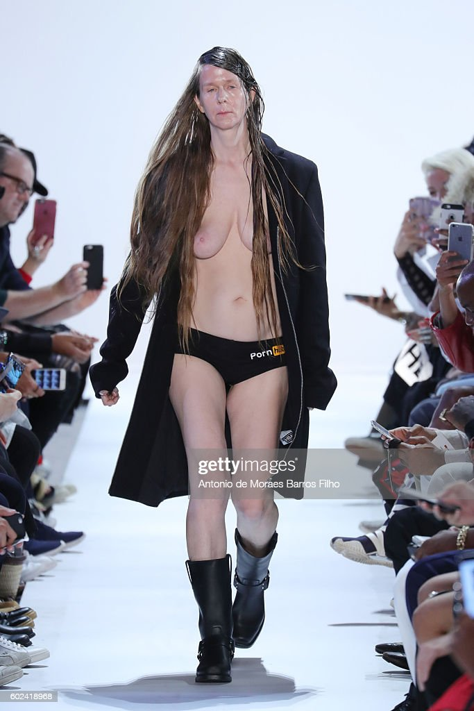 Image contains nudity. A model walks the runway at Hood By Air show during New York Fashion Week at Skylight at Moynihan Station on September 11, 2016 in New York City.