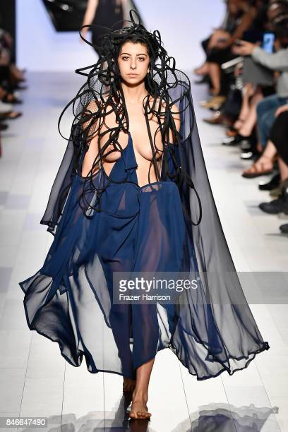 Image contains nudity A model walks the runway at the RISD fashion show during New York Fashion Week The Shows at Gallery 1 Skylight Clarkson Sq on...