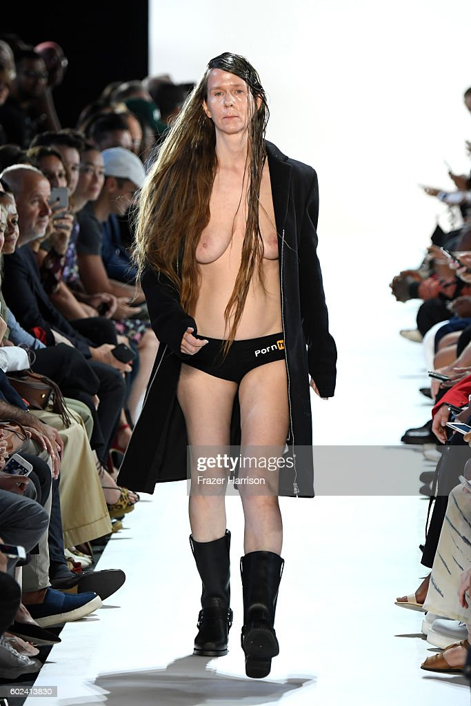 Image contains nudity. A model walks the ruwnay at the Hood By Air fashion show during New York Fashion Week: The Shows at The Arc, Skylight at Moynihan Station on September 11, 2016 in New York City.