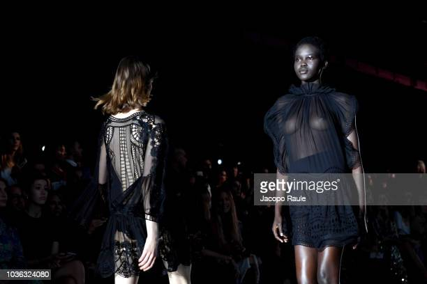 Image Contains Nudity Adut Akech Walks The Runway At The Alberta Ferretti Show During Milan Fashion